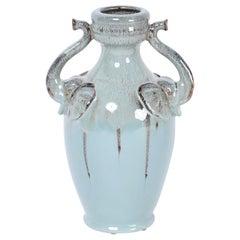 Midcentury Glazed Terracotta Vase with Elephant Handles