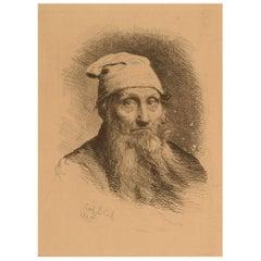 "Carl Bloch, ""Old man"", Etching, 1885"
