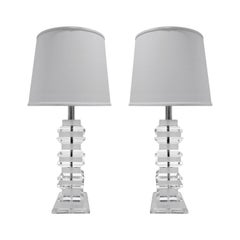 Pair of Sculptural Alternating Frosted and Clear Lucite Table Lamps 1970s