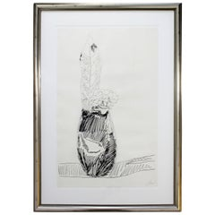 Mid-Century Modern Framed Signed Andy Warhol Black and White Flower