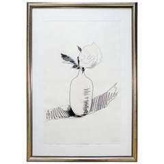 Mid-Century Modern Framed Signed Andy Warhol Screenprint One Flower