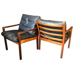 Pair of Midcentury Norwegian Armchairs in Rosewood and Leather, 1950s