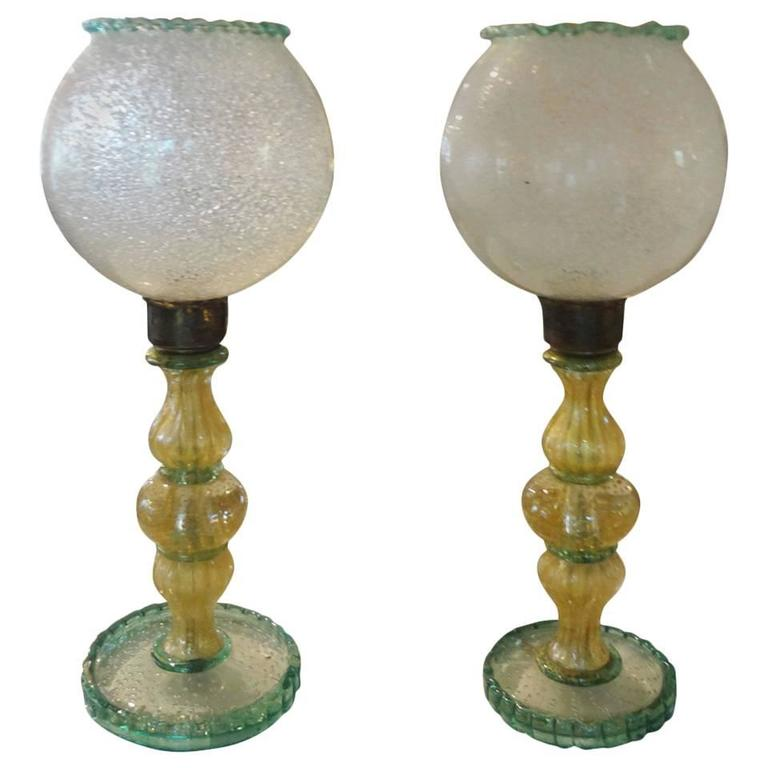 Pair Of  Italian Mid Century Murano Glass Lamps  For Sale