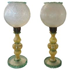 Pair Of  Italian Mid Century Murano Glass Lamps