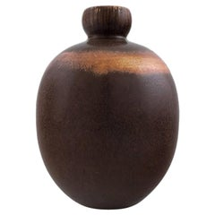 Saxbo: Rarely Shaped Vase Decorated with Dark Brown Glaze.