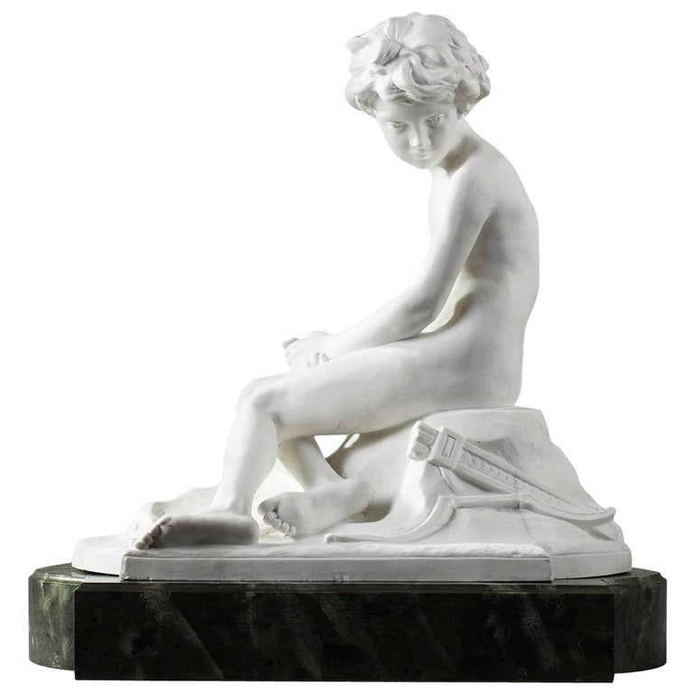 20th Century Sèvres Porcelain Bisque Amour Boudeur by Alfred Boucher