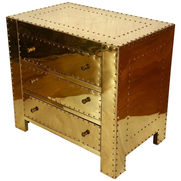 Hollywood Regency Brass Petite Chest of Drawers by Sarreid