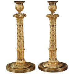 Restauration Bronze Table Lamps Candle Holders in Trajan's Column Style