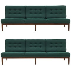 Pair of Florence Knoll Armless Sofas, Walnut Frames and Original Green Fabric