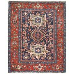 Antique Blue Persian Heriz Square Karadja Rug