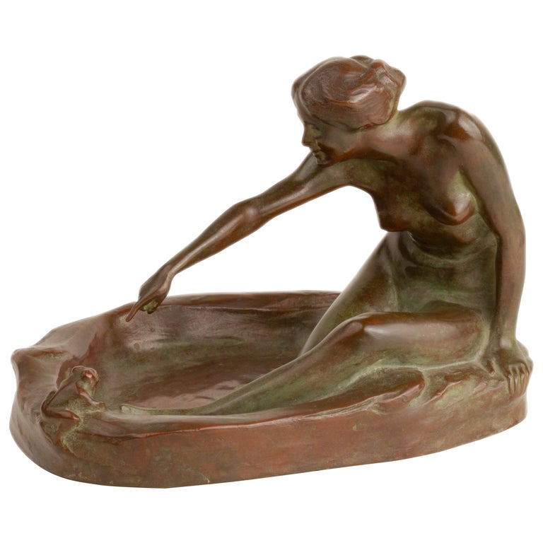 Girl with Frog American Art Nouveau Sculpture by, Harriet Whitney Frishmuth For Sale