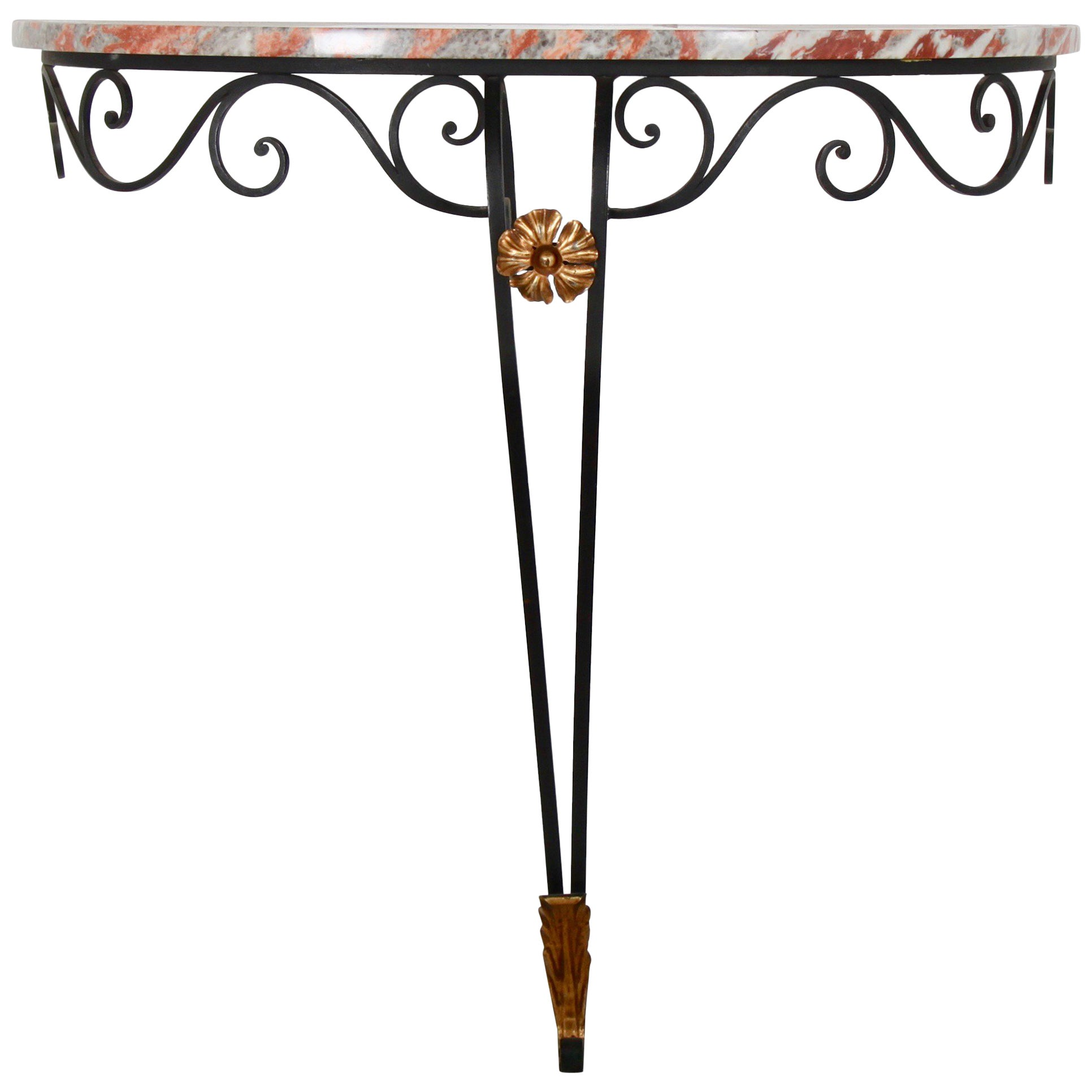 French Vintage Wrought Iron Console
