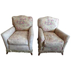 Pair of French 1940s Walnut Club Armchairs with a Seat Cushion and Reupholstery