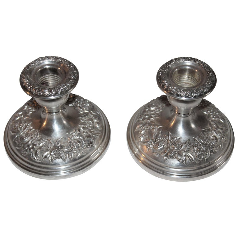 Sterling Silver Weighted Kirk & Sons Candle Stick Holders / Pair For Sale