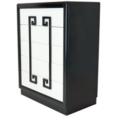 Kittinger Mandarin Style Chest Dresser Black and White Lacquer Five Drawers
