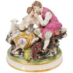 Figurine of a Couple in Conversation Germany 19th Century Porcelain Hand Painted