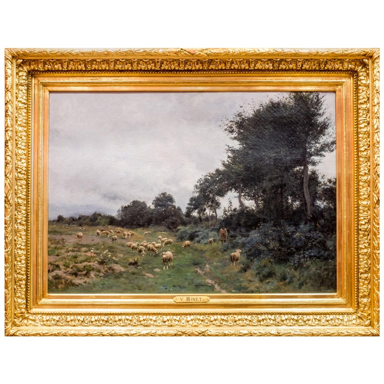 Victor J. Baptiste Barthélemy Binet, French, Sheep Grazing, 1884 Oil on Canvas For Sale
