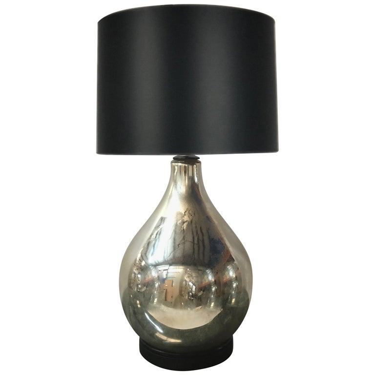 Large Scale Vintage Mercury Glass Table Lamp For Sale
