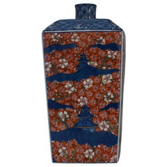 Japanese Imari Red Blue Porcelain Decorative Vase by Contemporary Master Artist