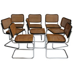 "Set of Eight ""Cesca"" Chairs by M. Breuer for Gavina, circa 1965"