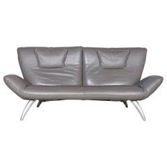 Leolux Designer Leather Sofa Grey Three-Seat Couch