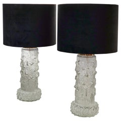 Swedish Modern Set of Clear Glass Table Lamps by Stilarmatur