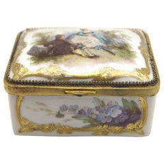 Rare KPM Berlin Porcelain Box with Rich Weichmalerei  Painting and Gold Painting