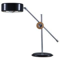 Scandinavian Desk Lamp in Chrome, Leather and Black Metal by Atljé Lyktan