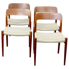Set of Four Scandinavian Modern Mod 75 Teak Dining Chairs by Niels Møller