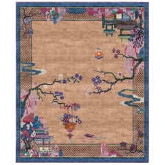 Chinoiserie Riverhouse Spring Silky Weaving 8x10 Hand-Knotted Rug in Pure Silk