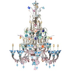 Italian Ca' Rezzonico Murano Glass Chandelier from Venetia by G. Ferro, 1950