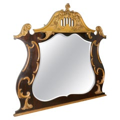 French Rococo Revival Overmantel Mirror, Hall, Ebonsied, Giltwood, circa 1910