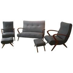Living Room, 2 Grey Armchair Whit Footstools, 1 Grey Sofa, 1950, Italy