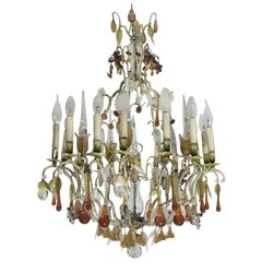 20th Century Italian Painted Bronze and Crystal Chandelier with Fruit Pendants