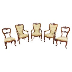 Neo-Rococo Mahogany Suite of Armchairs and Chairs