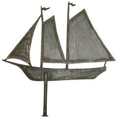 Antique Steel Weathervane Sailing Ship