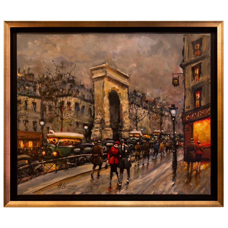 Lourenco Armand Oil on Canvas Paris View La Porte Saint-Denis For Sale