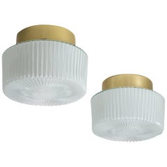 Pair of Textured Glass Flush Mounts / Wall Lights, 1960s
