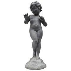 Antique French Cast Lead Garden Cherub Figure Statue Sculpture