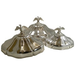 Set Graduated Meat/Platter Covers or Domes by Durand, Paris, circa 1840, Eagles
