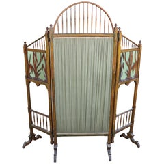 20th Century French Art Nouveau in Wood Colored Glass and Fabric Screen