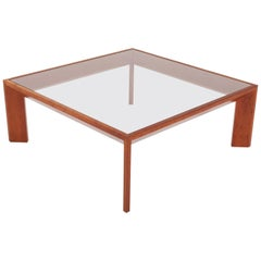 Modernist French Square Coffee Table in Elm in the Style of Jean Royere