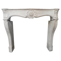 19th Century Louis XV Fireplace in French Limestone
