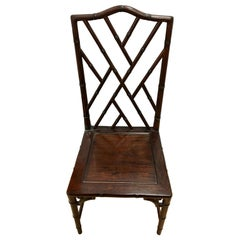 Set of Six Midcentury Mahogany Chinese Chippendale Dining Room Chairs