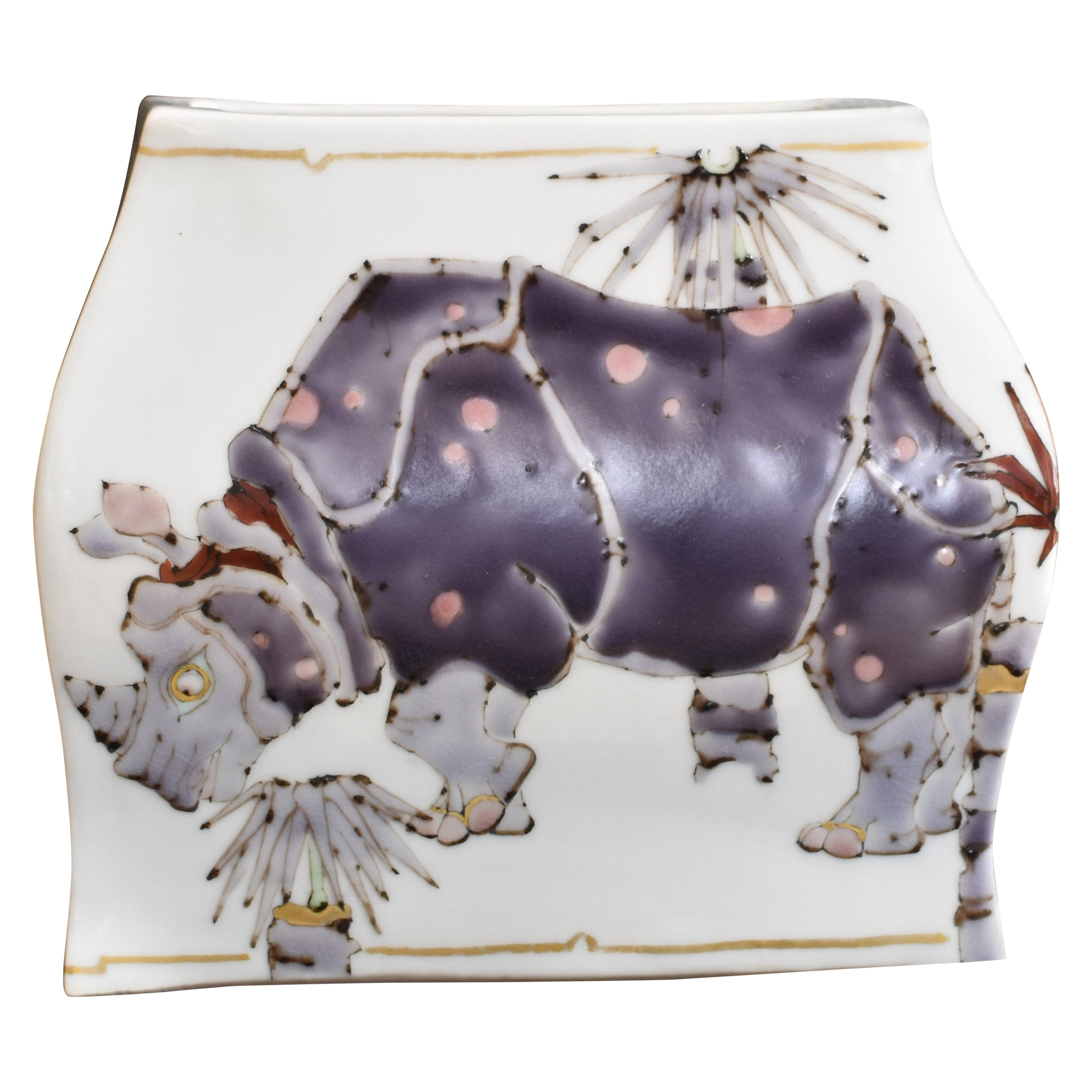 Japanese Kutani Hand Painted Porcelain Vase by Contemporary Master Artist