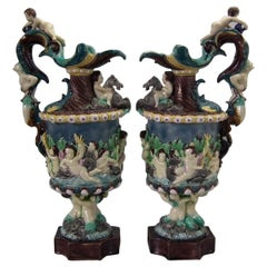 Pair of Thomas Sergent Palissy Majolica Mythological Ewers