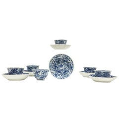 6 Miniature Chinese Porcelain Tea Bowls with Saucers, Kangxi