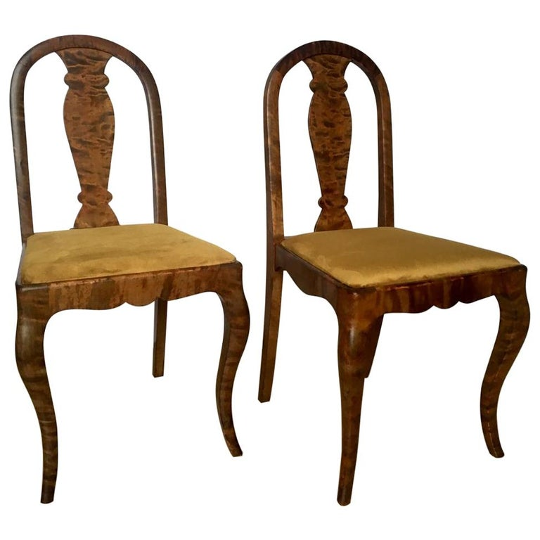 Set of Two Swedish Satin Birch Chairs, 1910s For Sale