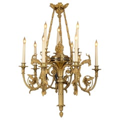 Rare and Unusual Gilt-Bronze and Enamel Nine-Light Chandelier, circa 1890