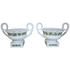 Pair of Wedgwood Stoneware 2 Handled Pot Pourri Vases with Lids and Liners